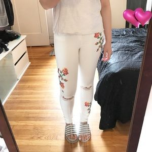 Topshop torn high waisted white jeans